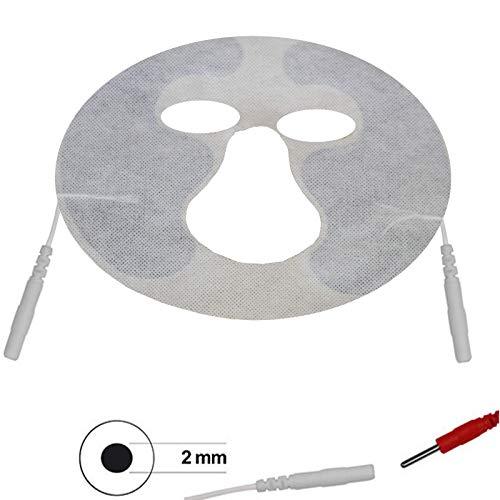 Gesichtsmaske für Anti-Falten Behandlung mit Reizstrom/Gesichtselektrode für TENS-EMS Reizstromgerät mit einem 2 mm-Kabelanschluss/EMS Gesichtsstraffung