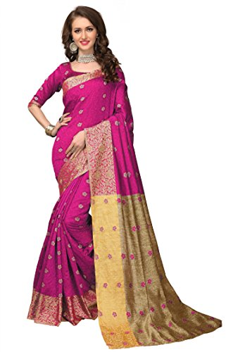 Monjolika Fashion Women's Lichi Silk Saree (28499_Magenta_Freesize)
