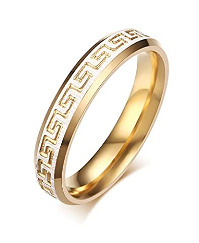 Stainless Steel Greek Key Pattern Couple Rings for Wedding Promise Engagement,White and Gold,Size 6