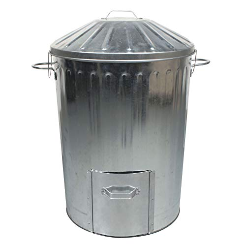 simpa 1 x 90L 90 Litre Galvanised Metal Dustbin with Door Hatch and Locking Lid - Garden Allotments Recycling Composter Bin