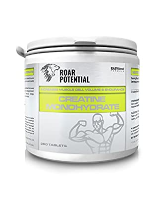 Creatine Monohydrate Tablets by ROAR POTENTIAL®. 100% Micronized Creatine Sports Supplement #1 Most Researched Sports Supplement Of All Time. An Absolute Must For Men And Women Seriously Looking To Improve Athletic Performance And Increase Lean Muscle. Hu