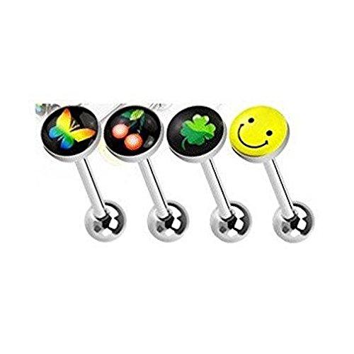 4 Stück Pack Assorted Logo Emoji Top Zunge Bar Piercing Dicke: 1.6mm Länge: 16mm Material: Chirurgische Stahl Logo: Schmetterling, Kirsche, Klee, (Kostüm Scary Tiger)