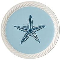 Villeroy & Boch Montauk Beachside, Geschirr aus Hochwertigem Premium in Blau und Beige, 22 cm Frühstücksteller, Porzellan, Weiß, 22 x 22 x 3 cm,