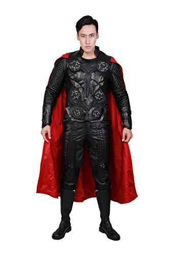 Deluxe Adult Thor Kostüm - Pandacos Thor Kostüm Herren Cosplay Costume Deluxe Lederkostüm Set Film Zubehör für Party, Karneval und Fasching
