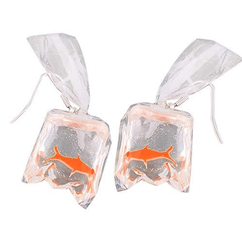 Nowbetter Fashion Persönlichkeit Transparent Süßigkeiten Goldfisch Ohrringe Hypoallergen Ohrhaken Ornamente Party Schmuck Geschenk für Frauen Mädchen, rot, 5.5 * 2.5cm -