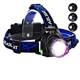 ASkyl LED Headlamp Flashlight Torch with Adjustable Rechargeable Battery for Camping Trekking Caving