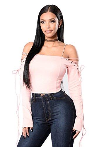 Femmes Sexy Long Sleeve Strapless Lacage Bandage Croix Short T-shirt Blouse Haut de la page Rose