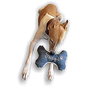 Hunde Spielzeug XXS XS S M L XL XXL Kissen Knochen Hundeknochen Quietscher Jeans blau bestickt Name Wunschname…