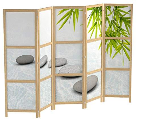 murando - Paravent XXL Spa Zen Orient 225x171 cm - 5-teilig - einseitig - eleganter Sichtschutz - Raumteiler - Trennwand - Raumtrenner - Holz - Design Motiv - Deko - Japan p-C-0016-z-c
