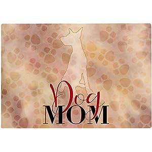 Cadouri Frühstücksbrettchen DOG MOM mit Dobermann Glasschneidebrett Schneidebrettchen – 28,5 x 20 x 0,4 cm