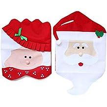 CHBOP Fundas Antideslizantes para sillas de Cocina navideñas Que presentan a Mr & Mrs Santa Claus