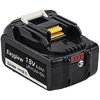 Batería de ión de litio Eagglew BL1860B 18v 5.5Ah Reemplace para Makita BL1860B BL1850 BL1850B 1818205-3 194309-1 LXT400 con indicador