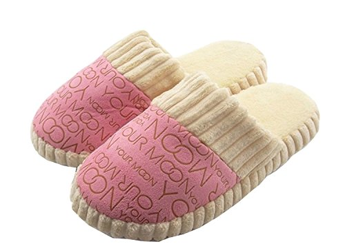 BuyHere Woman's Cotton-padded Home Slippers, US Size 7, Pink