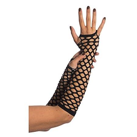Netzhandschuhe Cutout Muster Löcher Fasching Karneval Achziger Rockerin (schwarz)