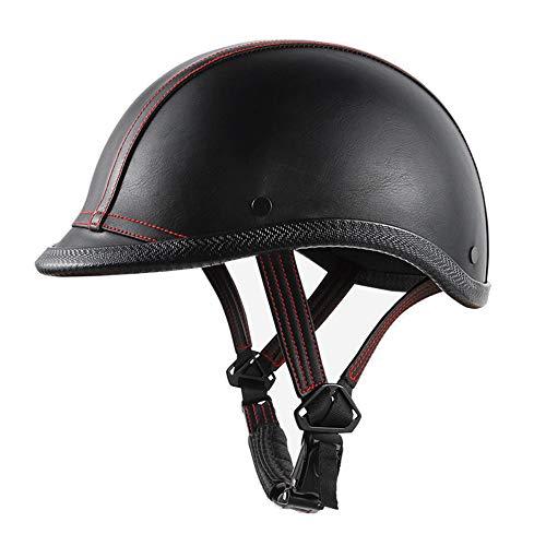 WOSAWE Motorradhelm Retro Jethelme Männer Frauen Leder Halb-Helm für Fahrrad Motorrad Cruiser Roller Schwarz