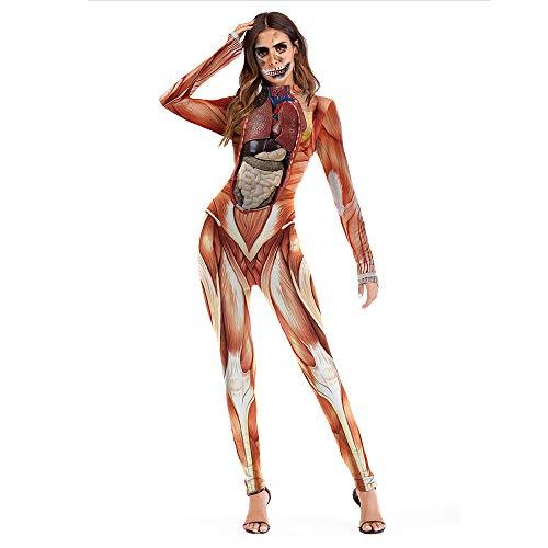 �me Party Abend Party Bühnenkostüm Europa Und Amerika 3D Lebensechte Menschlichen Körper Struktur Druck Strampler Rollenspiel Requisiten DE (Size : XL) ()