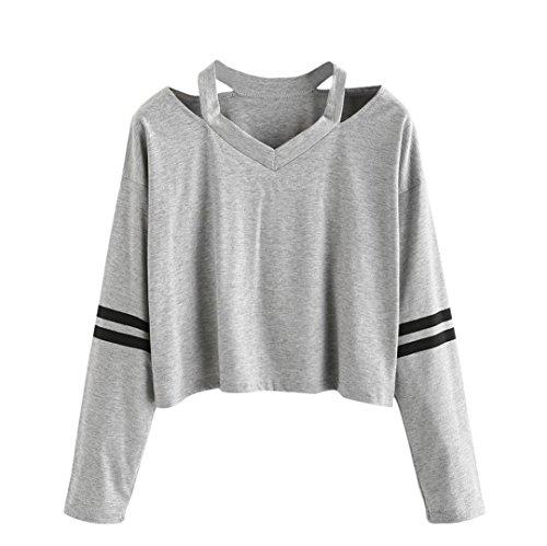 Tonsee Femmes Mode Blanc Lettre Imprimer Surgir Sweat-shirt Top Blouse (XL, Gris2)
