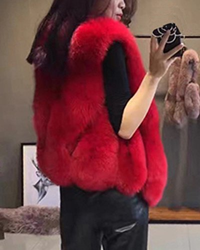 Donna Corti Parka Gilet Invernale Cappotto Di Falso Pelliccia Senza Maniche Giacchetto Giubbotto Faux Fur Giacca Rosso