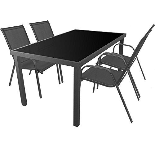 5tlg. Gartengarnitur Aluminium Glastisch 150x90cm + Stapelstühle mit Textilenbespannung Sitzgarnitur Sitzgruppe Gartenmöbel Balkonmöbel Terrassenmöbel