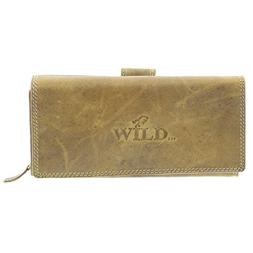 Portemonnaie Damen Wild Leder Geldbeutel mit 22 Kartenfächern in 7 Farben (Tan)
