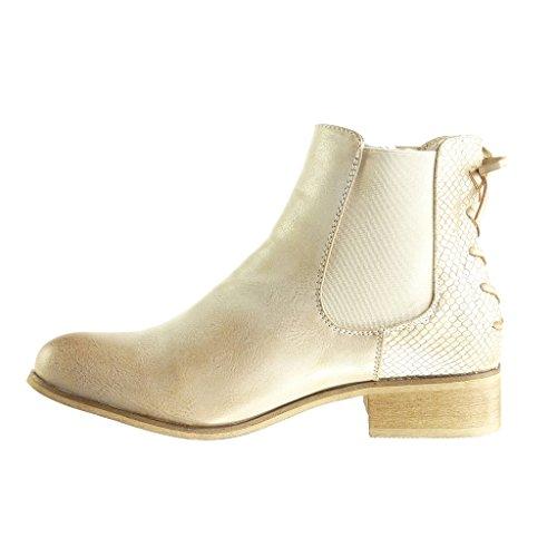 Angkorly Scarpe Moda Stivaletti Scarponcini Chelsea Boots Donna Nodo Merletto Tacco a Blocco 3 cm - Soletta Foderato di Pelliccia Oro