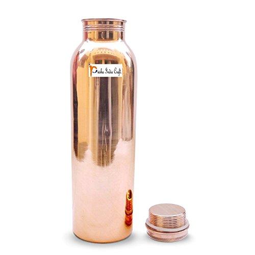 1000 ML / 33 oz - Prisha Indien Craft ® Traveller's 100 % reines Kupfer Wasserflasche oder Thermoskanne für Ayurvedic Health Benefits - - Trinkflaschen - Weihnachtsgeschenk - 33oz-wasser-flasche