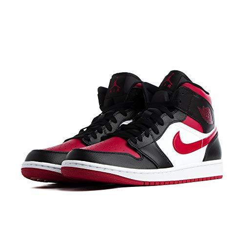 Nike Herren AIR Jordan 1 MID Basketballschuh, Black Noble Red White, 41 EU