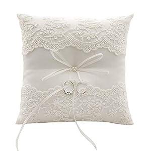 Fauge Spitze Nachgemachte Perle Hochzeit Ringkissen Elfenbein Kissen Bearer 8,26 Zoll Für Strand Hochzeit