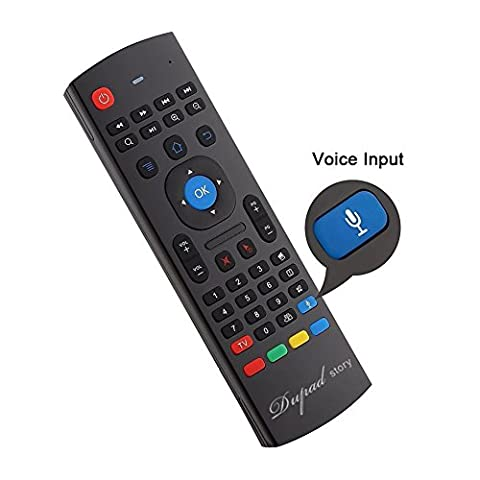 2.4Ghz Air Mouse Keyboard Remote, Mini Wireless USB Android TV Control & 42 Tasten Infrarot Lernen, Voice Input für Computer PC Android TV Box Google Von Dupad Story