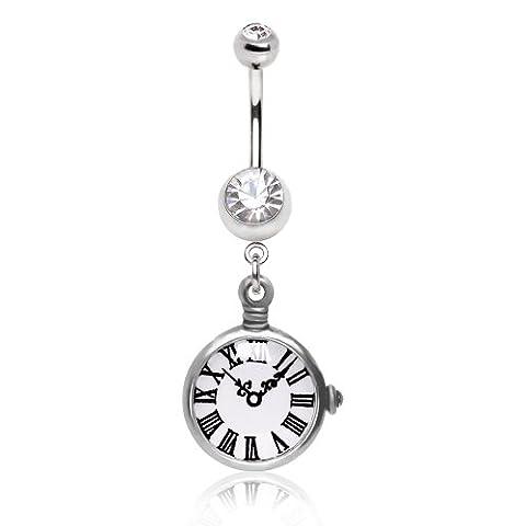 Replica-Taschen-Uhr mit römischen Ziffern löschen Kristall 1,6mm x 10mm Chirurgenstahl Bauchn