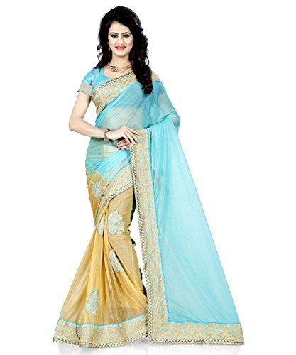 Bolly Lounge women's Georgette Embroidered Sky AND Beige color saree for party...