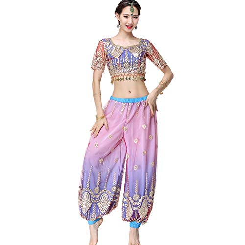 CX Erwachsene Frauen Sexy Bauchtanz Performance Kleidung Anzug Indian Dance Kostüm (Color : Blue, Size : M)