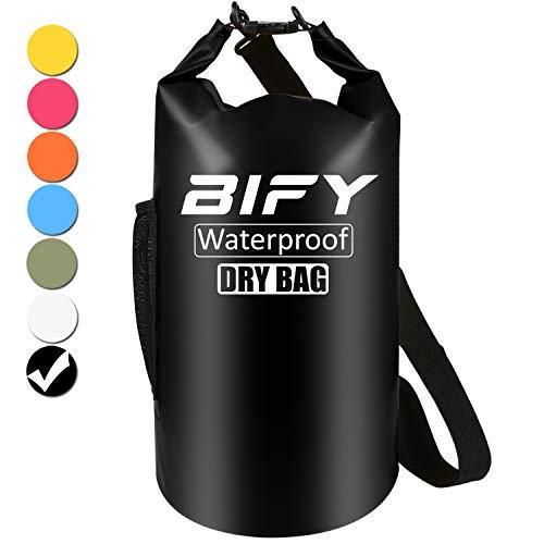 Dry Bag BIFY 5L/10L/15L/20L/25L/30L/40L Leicht Wasserfester Rucksack/Wasserdichte Tasche/Trockensack mit lang Verstellbarer Schultergurt für Boot und Kajak Wassersport Treiben (Schwarz, 30L)