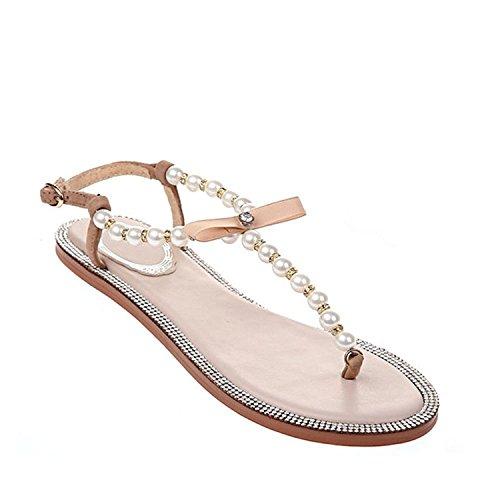 Damen Sandaletten Leder Flache Sandalen Zehntrenner Perlen T-Strap Badelatschen Ballerienaabsatz Beige