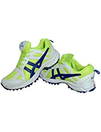 arnav Sports Cricket Shoes with Rubber Spikes/Studs White/Green