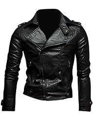 Jeansian Moda Hombre Chaqueta Moto Cuero Mens Fashion Jacket Motorcycle Leather Top 8937