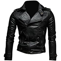 Jeansian Moda Hombre Chaqueta Moto Cuero Mens Fashion Jacket Motorcycle Leather Top 8937 Black S