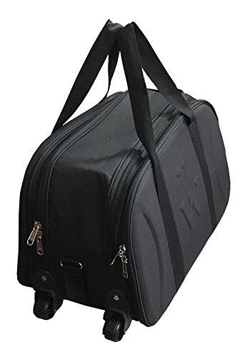 Shuban Unisex Polyester Cabin Luggage Bag with Wheels (Duffel Wheel Bag - Black)