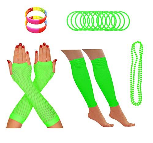 Redstar Fancy Dress® - Partyoutfit für 80er-Neonparty - Beinstulpen Netzhandschuhe Perlenkette Neonfarbene Gummiarmbänder - Grün