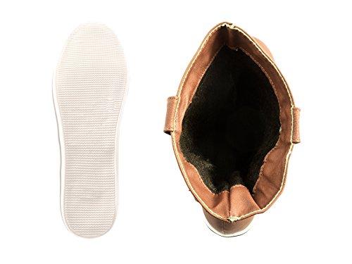 Elara Damen Schlupfstiefel | Flache Stiefelette | Bequeme Schlupf Boots | Gefüttert Camel