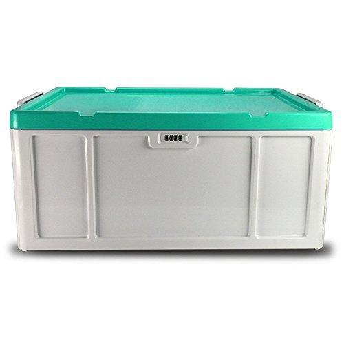 EVERTOP Aufbewahrungsbox Kunststoff 52 Liter Aufbewahrungsbehälter Schloss Plastik Stapelbox Büro Hause Zahlencode Stoffbox mit Deckel Multibox ABS Systembox für Kleid Organizer Storage Box 56 x 39 x 24cm - Grün (Storage Container 24 X 24)