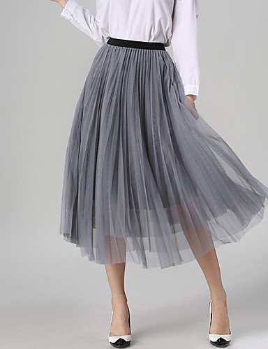 ZLL Damen Röcke - Retro / Leger Knielang Polyester Mikro-elastisch , gray