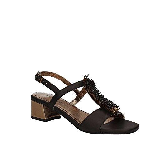 APEPAZZA GILI GNN04, scarpe donna, sandali con tacco, perline, cinturino Nero