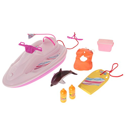 Segolike Plastic Happy Splash Airship Play Set Motorboat Life Vest for Barbie Doll  available at amazon for Rs.1690