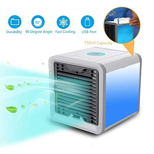 PHANTIO Mini Cooler Air Purifier Portable 3 in 1 Humidifier Fragrance Diffuser for home & personal space with adjustable 3 speeds USB 7 different LED mood lights