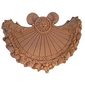 Deko Sonnenuhr Meridiana aus italienischem Terrakotta frostfest und witterungsbeständig QUALITÄTSWARE Handarbeit (Meridiana 38cm)