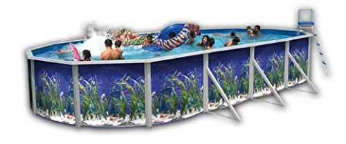 Piscine acier ovale decor aquarium 6,40x3,66 hauteur 1,20m - toi 8567