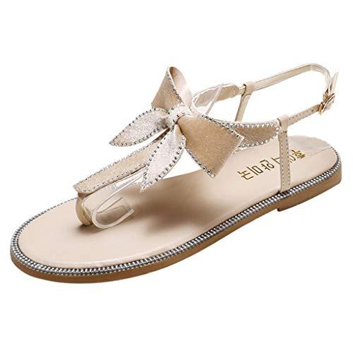 Mitlfuny Damen Sommer Sandalen Bohemian Flach Sandaletten Sommer Strand Schuhe,Frauen Sommer Casual Strass Bow Thongs Mode Strand Hausschuhe Sandalen Julia Thong