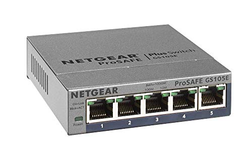 Netgear GS105E-200PES 5 Port Smart Managed Plus Gigabit Switch (bis 2000 MBit/s, Plug-und-Play, konfigurierbar mit deutscher GUI, VLAN, QoS/DoS, IGMP-Snooping, lüfterlos, Metallgehäuse)