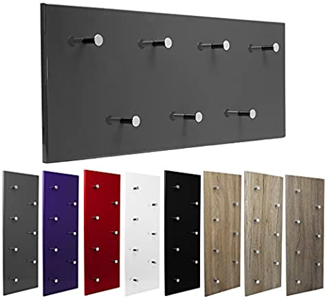 Garderobe Wandgarderobe Hochglanz mit 7 Haken Wandpaneel Flurgarderobe Garderobenpaneel Garderobenleiste (weiß)